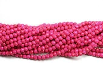 Pink Magnesite Beads, 4mm round, 15 inch strand