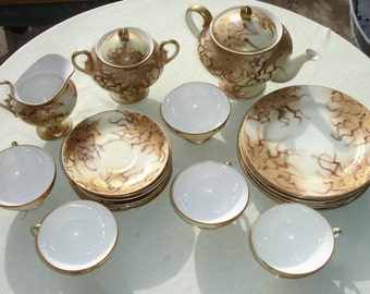 RARE Occupied Japan SHOFU NAGOYA Gold & Brown Tea Set - 18 pcs