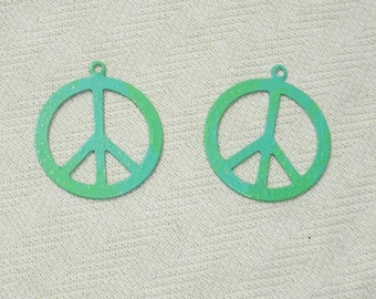 Patina Colored Peace Sign Symbol Charms - 2  pcs - Jewelry Making Supplies