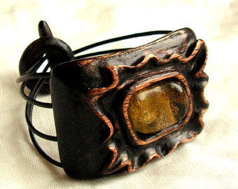 Wiiden bracelet with natural baltic amber hand carved jewelry in boho style