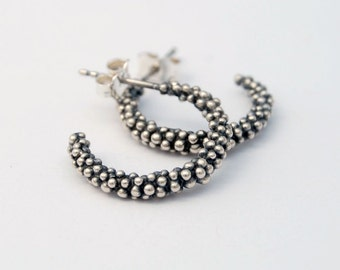 Caviar hoops - sterling silver modern balls earrings