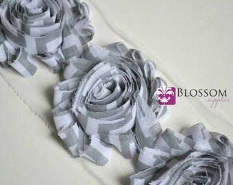 1/2 or 1 YARD Increment - Gray White CHEVRON - Shabby Chiffon Flower Rose Trim - Headband Flowers - stripes - blossom supplies crafts