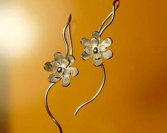 """sterling silver 2 layer """"zinny flower"""" earrings."""