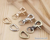"10Pcs 10mm (3.93""), Gold Silver Brass Smaller Swivel Lobster Clasps with D Ring- For Craft Bag Purse T196"