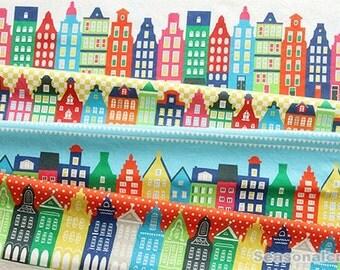 Vintage Cotton Linen Fabric, Colorful Europe House Building Pattern, Linen fabric 1/2 yard  (QT564)