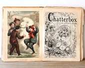 Antique Victorian children's story book / Chatterbox storybook / 1880s paper ephemera for altered art / illustrated book magazine collection