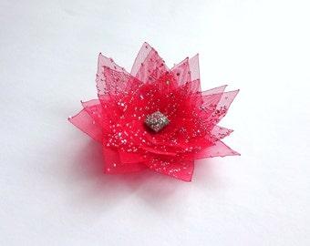 Red Organza Flower Embellishment
