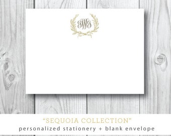 Sequoia Collection | SET of 10 Flat Printed Stationery with Blank Envelopes | Printed by Darby Cards