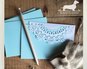 CLEARANCE! Mint Lace. Note Cards (Set of 5) -- (Vintage-Style, Shabby Chic, Rustic, Baby Shower, Thank You Card, Die Cut, Bridal Shower)