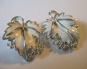 Vintage SACJewelry White Enamel Grape leaves clip on earrings marked SAC