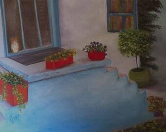 "Original Oil on Canvas Board- PRINT- ""Cat in Doorway""- 8x10, 11x14, or 16x20"