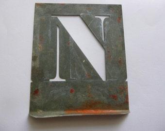 N, Vintage Stencil Initials, French, Zinc, Letter N.