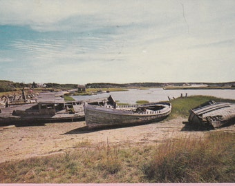 """CA.1970 """"Boats Along the Shores"""" in Cape Cod, Mass Topographical Picture Postcard -- 2282"""