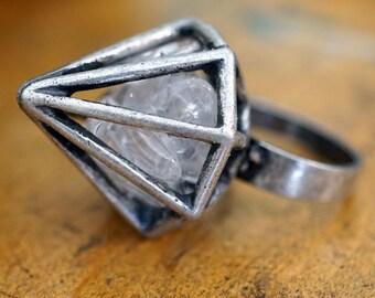 QUARTZ INSIDE DIAMOND Cage Ring