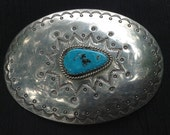 big bold nickel silver and turquoise Native signed and made 4 inch belt buckle