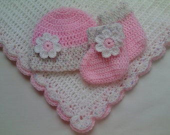 Crochet Baby Blanket, Hat and  Booties Set gift christening baptism baby white afghan