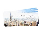Watercolor New York Skyline Save the Date - Digital or Print