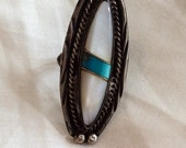 Mother of Pearl Long Ring, Turquoise Inset, Silver, Native American, Vintage Jewelry, SUMMER SALE