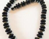 Vintage Jewelry, Black Lucite Necklace, Art Deco Revival, SUMMER SALE