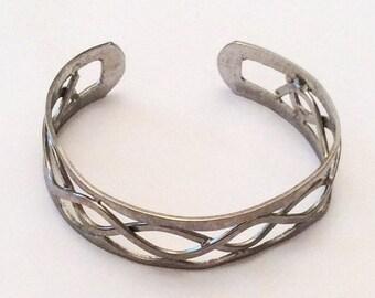 Vintage Pewter Bangle, Open Metalwork Bracelet, Vintage Jewelry, Gift for Her SPRING SALE