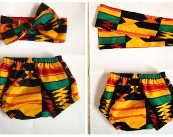 African print Baby diaper cover and head wrap- bloomers ankara kente african fabric