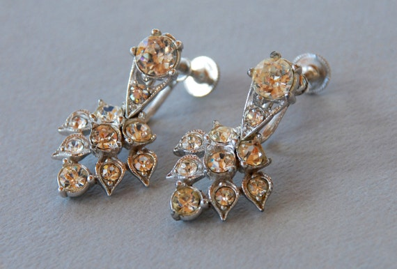 Vintage bogoff rhinestone earrings screwback by for Bogoff vintage costume jewelry
