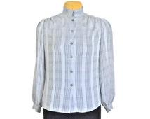 Silver Blouse Metallic Blouse Silver Top Silver Shirt Metallic Shirt Metallic Top Shiny Blouse Gray Blouse Grey Blouse Dressy Blouses Women