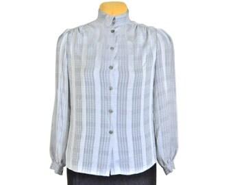 Silver Blouse High Neck Blouse Metallic Blouse Silver Top Silver Shirt Metallic Shirt Metallic Top Shiny Blouse Gray Blouse Grey Blouse