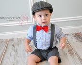 Vintage Inspired Adjustable Gray Suspender Shorts/Shortalls with Red Bow Tie