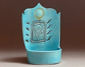Madonna Candleshrine 2643 • candle holder • shrine • patsy thola • patsy chamberlain • Mother Mary • luminaria • Christmas • Star • Aqua