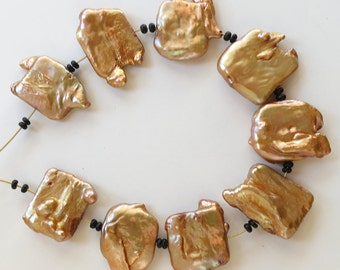 Pearl Toffee Squares ~ 20-25mm ~ 9 Beads