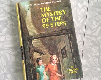Vintage Nancy Drew Hard Cover Book, The Mystery of the 99 Steps, Vintage Hard Back Matte Cover Book