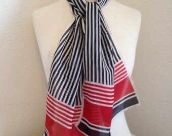 Vintage Scarf, Red White and Black Striped Scarf, Vintage Rectangular Scarf, Vintage Patterned Scarf