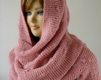 KNITTING PATTERN Hood Scarf - Celine  Hooded Scarf with long Sleeves - Cowl Pattern Big Scarf pdf files Instant Download pattern for women