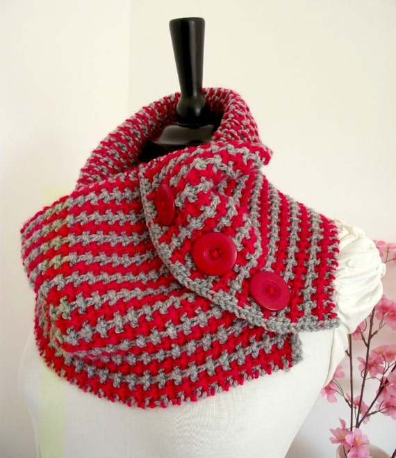 Two Colour Scarf Knitting Pattern : KNITTING PATTERN Scarf Cowl Two Colors - Two Colors Scarf Cowl Pattern - Scar...