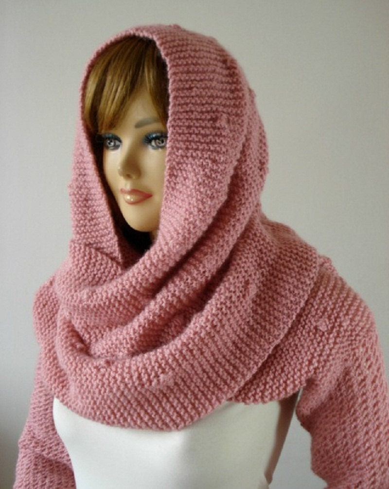 Knitting Pattern Hood Cowl : KNITTING PATTERN Hood Scarf Celine Hooded Scarf with long