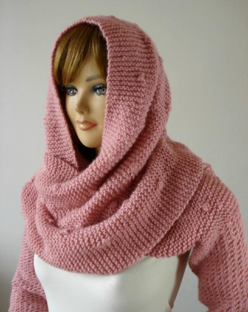 Knitting Pattern Scarf With Sleeves : KNITTING PATTERN Hood Scarf Celine Hooded Scarf with long