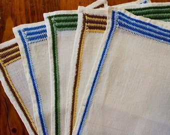 Vintage Linen Napkins Cocktail 5 Multi Color Hand Embroidered Striped Unused Green Blue Yellow