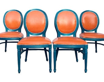 SALE French Louis XVII Upholstered Side Accent Dining Chairs Set Aqua Teal Glossy Orange Tangerine Leather Cowhide Nail Head Modern Rustic