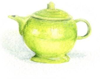 Watercolor Tea Pot, Tea Pot Print, Fiesta Ware Tea Pot