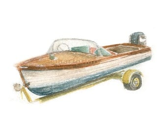 Watercolor Runabout, Retro Runabout Print, Vintage Runabout Print, Wooden Boat Print