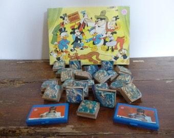 Vintage Walt Disney Carousel Multi Print Rubber Stamps x 24 In Box