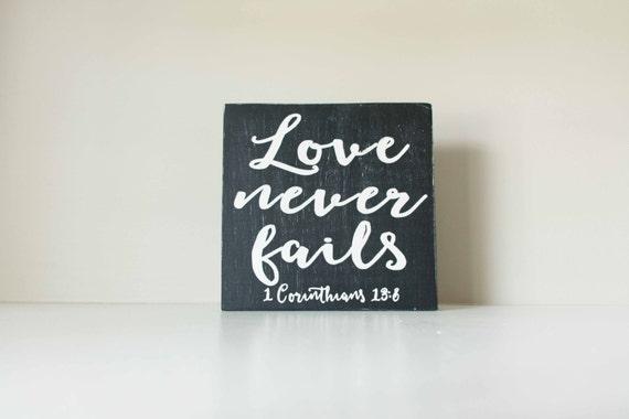 Love Never Fails Wood Sign, 1 Corinthians 13:8, Love Sign Home Decor, Scripture