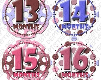 Second Year baby stickers - Baby monthly stickers 13 - 24 months - Bodysuit Romper Stickers - Monthly Baby Stickers - SPOTS PINK PURPLE