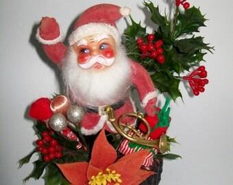 Vintage Kitschy Santa Decoration Plastic Faux Holly Centerpiece
