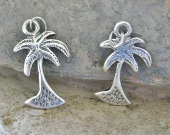 Palm Tree Sterling Silver Charm Tropical Island Charm 2 Tree Charms