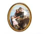 Large Vintage Ornate Gold Scroll Convex Glass Framed Fisherman With Children Seaside Wharf Ocean Scene