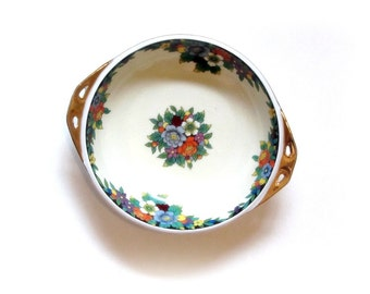 Noritake Morimura Art Deco Floral Bowl Gold Trim and Handles Multicolor Flowers Japanese Porcelain