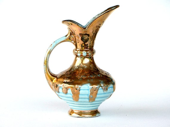 weeping gold savoy china vase turquoise blue and 24k by recreated1. Black Bedroom Furniture Sets. Home Design Ideas
