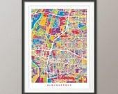 Albuquerque Map,  Albuquerque New Mexico City Street Map, Art Print (2042)